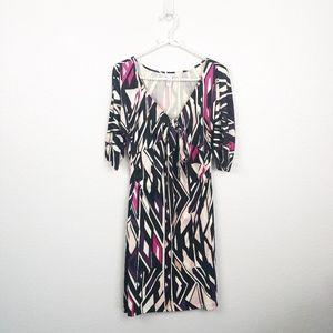 DVF Silk Dress V-neck Tie Front 3/4 Sleeves sz 12